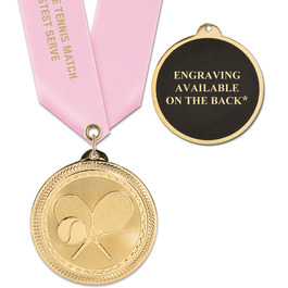 BL Sports Award Medal w/ Satin Neck Ribbon - ENGRAVED