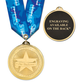 BRITE LASER MEDAL W/ MULTICOLOR NECK RIBBON