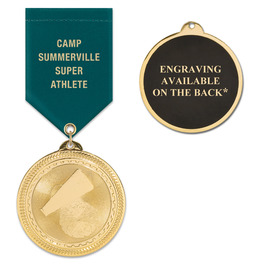 BL Sports Award Medal w/ Satin Drape Ribbon - ENGRAVED