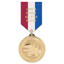 BL Sports Award Medal w/ Specialty Satin Drape Ribbon