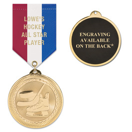 BL Sports Award Medal w/ Specialty Satin Drape Ribbon - ENGRAVED