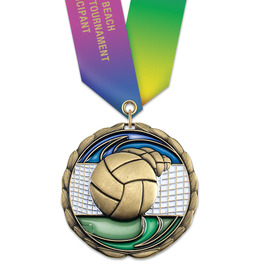 CEM Sports Award Medal w/ Specialty Satin Neck Ribbon