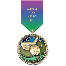 CEM Sports Award Medal w/ Specialty Satin Drape Ribbon