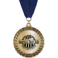 GFL Metallic Sports Award Medal w/ Grosgrain Neck Ribbon