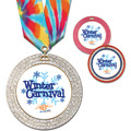 GEM Full Color Sports Award Medal w/ Multicolor Neck Ribbon