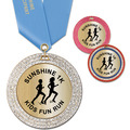 GEM Metallic Sports Award Medal w/ Satin Neck Ribbon