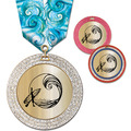 GEM Metallic Sports Award Medal w/ Multicolor Neck Ribbon