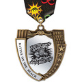 MS Mega Shield Sports Award Medal w/ Multicolor Neck Ribbon