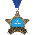 AS All Star Full Color Sports Award Medal w/ Grosgrain Neck Ribbon