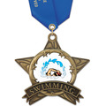 AS All Star Full Color Sports Award Medal w/ Satin Neck Ribbon