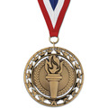 Rising Star Sports Award Medal with Red/White/Blue or Year Grosgrain Neck Ribbon