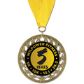 RS14 Full Color Sports Sports Award Medal with Grosgrain Neck Ribbon