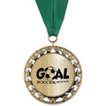 RS14 Metallic Sports Award Medal with Grosgrain Neck Ribbon
