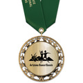 RS14 Metallic Sports Award Medal with Satin Neck Ribbon