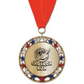 RSG47 Metallic Sports Award Medal with Grosgrain Neck Ribbon