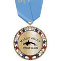 RSG Metallic Sports Award Medal with Satin Neck Ribbon