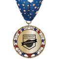RSG Metallic Sports Award Medal with Millennium Neck Ribbon