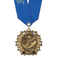 Ten Star Sports Award Medal with Satin Neck Ribbon