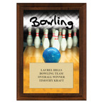 Bowling Award Plaque - Cherry Finish