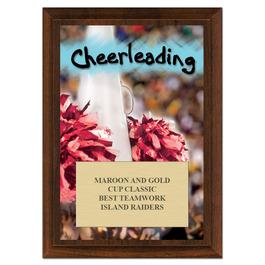 Cheerleading Award Plaque - Cherry Finish