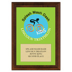 Full Color Custom Sports Award Plaque - Cherry Finished