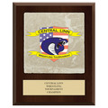 Full Color Sports Award Plaque - Cherry Finish w/ Tumbled Stone Tile & Engraved Plate