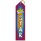 All Star Multicolor Point Top Sports Award Ribbon