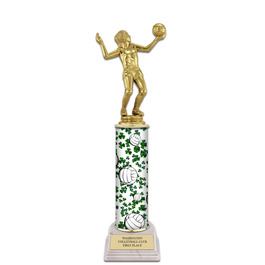 "12"" White HS Base Sports Award Trophy w/ Custom Column"