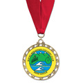 ST Star Medal w/ Red/White/Blue or Flag Grosgrain Neck Ribbon