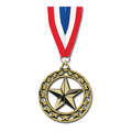 Star Medal w/ Red/White/Blue Grosgrain Neck Ribbon