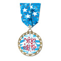 ST14 Star Full Color Award Medal w/ Multicolor Neck Ribbon