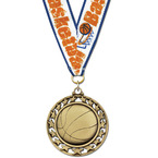 Star Basketball Medal w/ Any Grosgrain Neck Ribbon