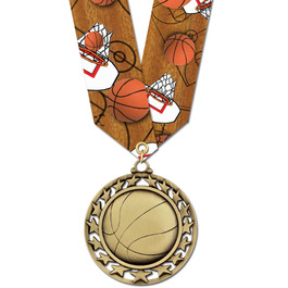 Star Basketball Medal w/ Multicolor Neck Ribbon
