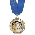 ST Star Metallic Swim Medal w/ Any Satin Neck Ribbon