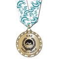 ST Star Metallic Medal w/ Any Multicolor Neck Ribbon