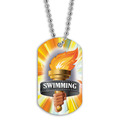 Swim Torch Dog Tag