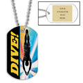 Personalized Swim Dive Dog Tag w/ Engraved Plate