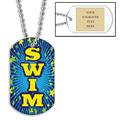 Personalized Swim Blue Dog Tag w/ Engraved Plate