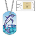 Personalized Swim Dolphin w/ Engraved Plate