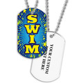 Personalized Swim Blue Dog Tag w/ Print on Back