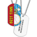 Personalized Swim Best Time Dog Tag w/ Print on Back