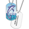 Personalized Swim Dolphin Dog Tag w/ Print on Back