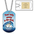 Personalized Swim Clock Dog Tag w/ Engraved Plate