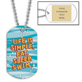 Personalized Swim Simple Dog Tag w/ Engraved Plate