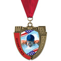 MS Mega Shield Full Color Swim Award Medal w/ Grosgrain Neck Ribbon