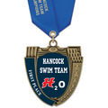 MS Mega Shield Full Color Swim Award Medal w/ Satin Neck Ribbon