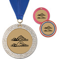 GEM Metallic Swim Award Medal w/ Grosgrain Neck Ribbon