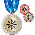 GEM Metallic Swim Award Medal w/ Multicolor Neck Ribbon