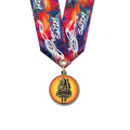 CXC Color Fill Swim Award Medal w/ Multicolor Neck Ribbon