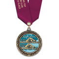 LXC Color Fill Swim Award Medal w/ Satin Neck Ribbon